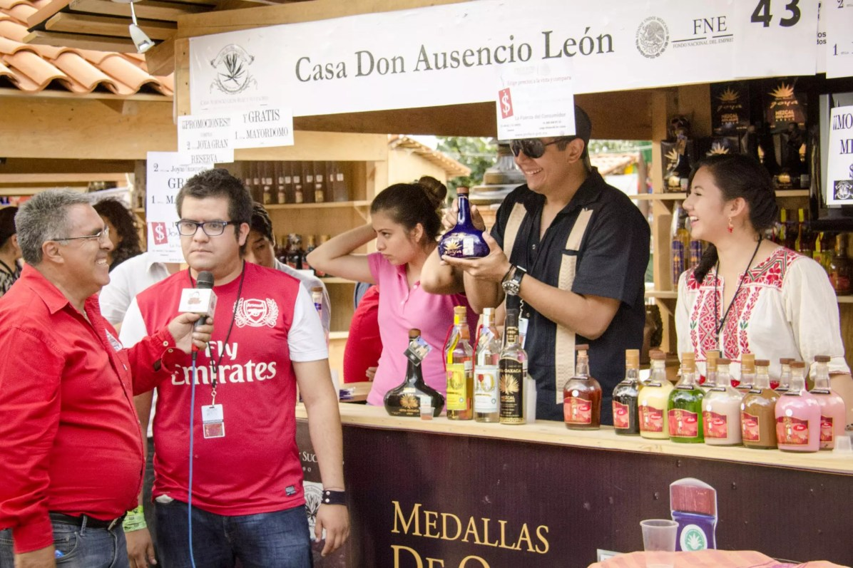 Oaxaca Mezcal Festival: Ely and his crew, promoting their product on local TV.