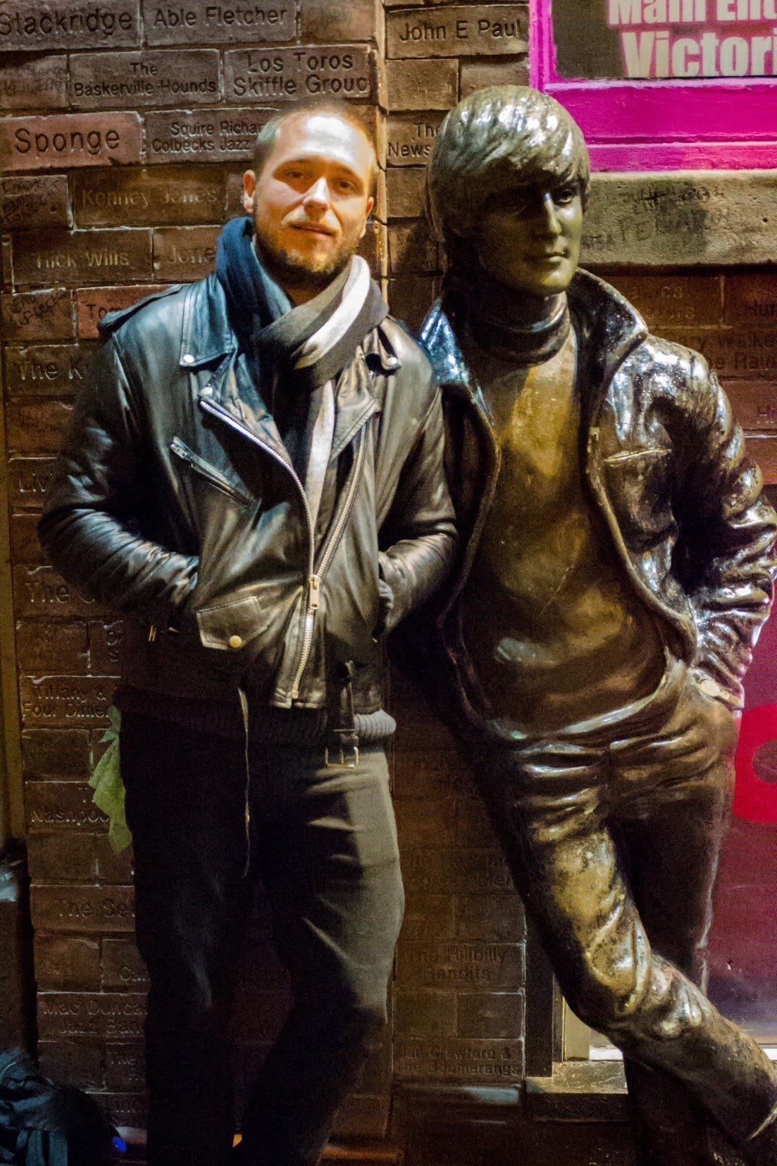 Cedric Lizotte and John Lennon's statue