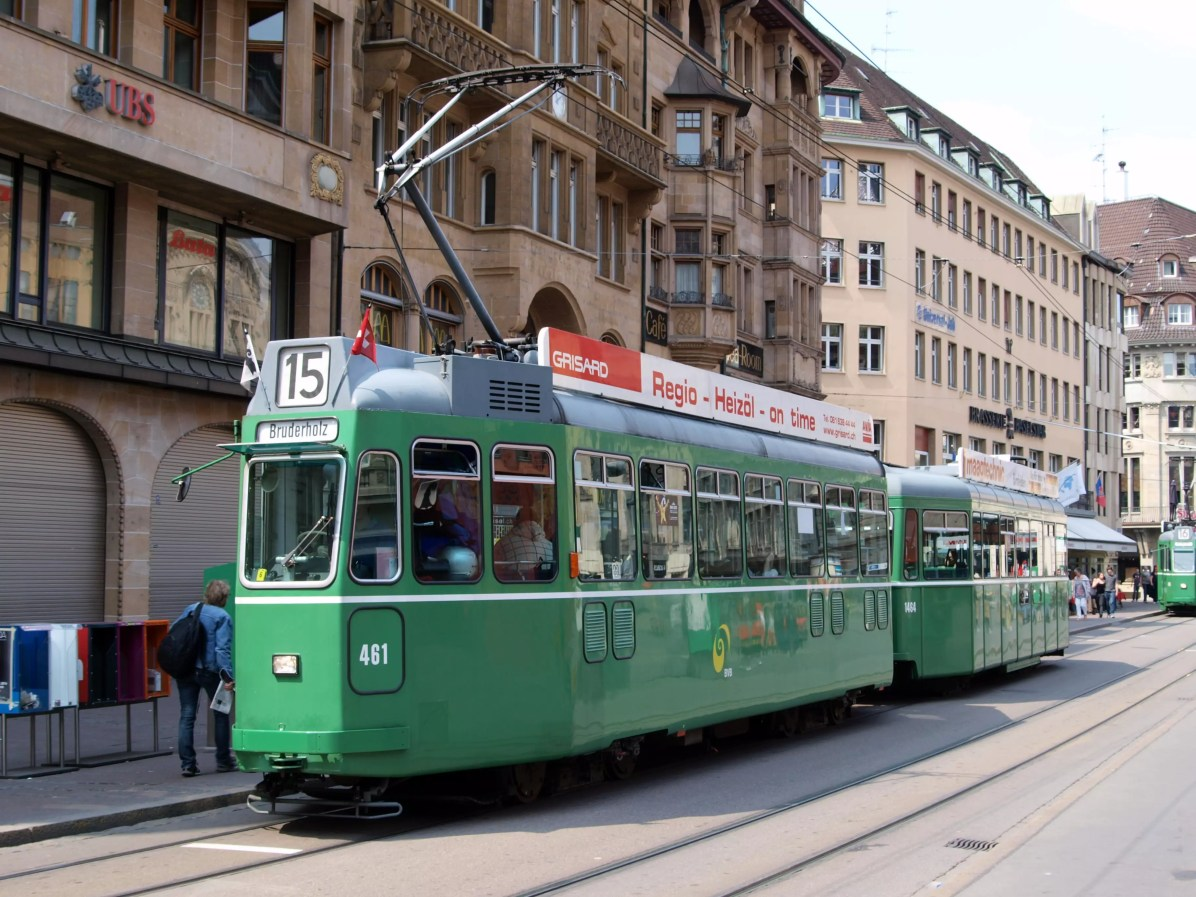 Things to do in Basel - BVB Tram car 461, line 15 towards Bruderholz at Basel, Switzerland - This is a copyright free photo