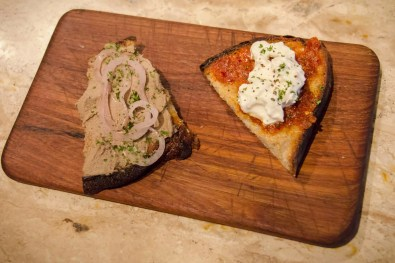 Chicken live pate, tomato toast, Italian food in Bangkok