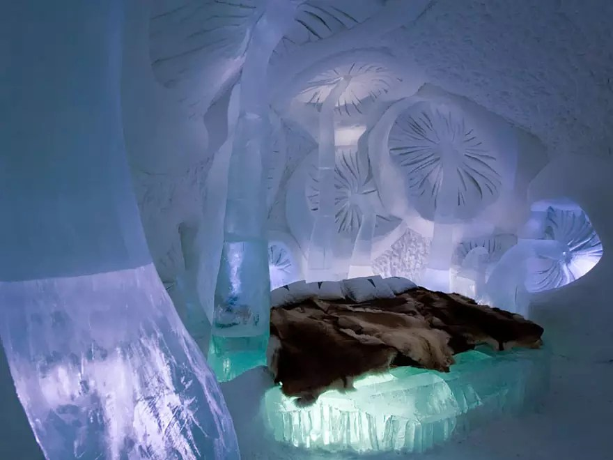 Ice and snow hotel - IceHotel in Jukkasjarvi, Sweden - Royalty Free Stock Photo