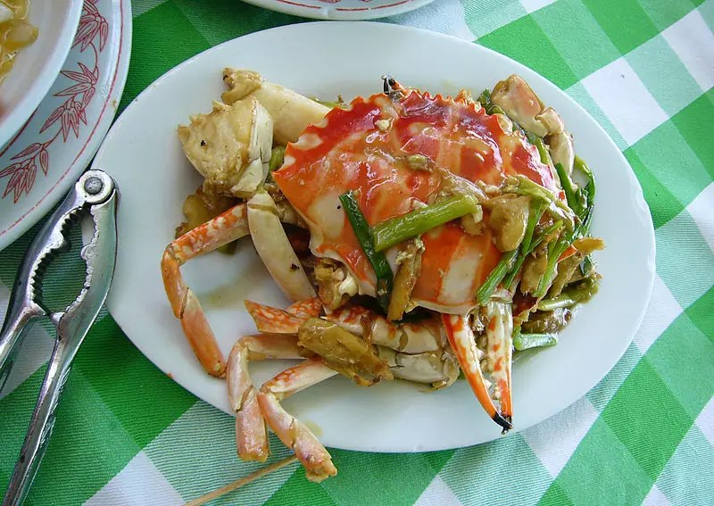Wok-fried crab with ginger and spring onion - photo by Kent Wong under CC-BY-SA-2.0