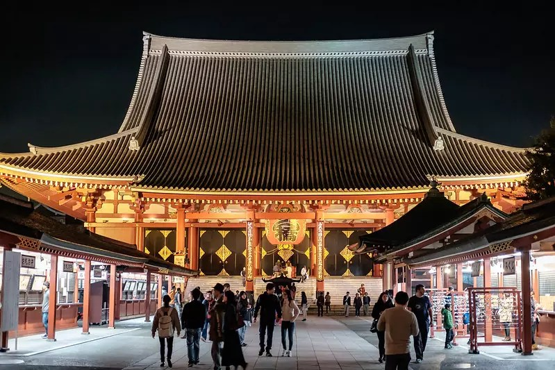 Sensō-ji main hall at night - photo by Leng Cheng under CC BY 2.0