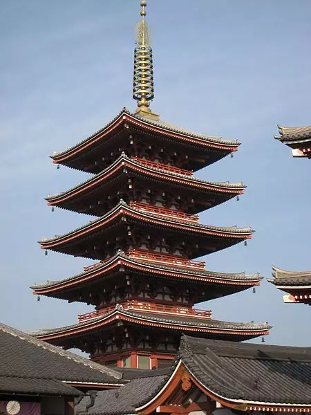 five-storied pagoda at Sensō-ji - photo by Daderot under PD-self