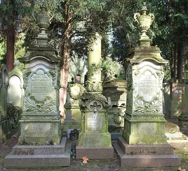 The graves of Mayer Carl Freiherr von Rothschild and  Louise von Rothschild in the Old Jewish Cemetery in Frankfurt - photo by Genealogist under CC-BY-3.0
