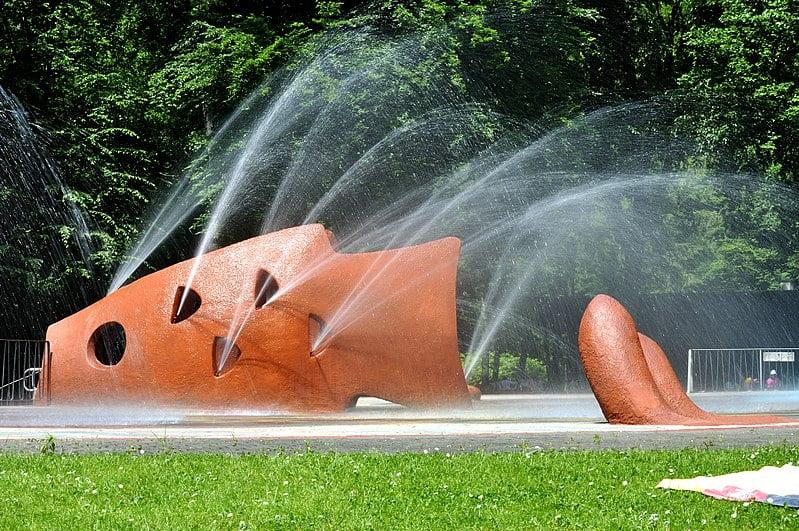 The children's splash pad at Waldspielpark Scheerwald - photo by Frank Murmann under GFDL and CC BY 3.0