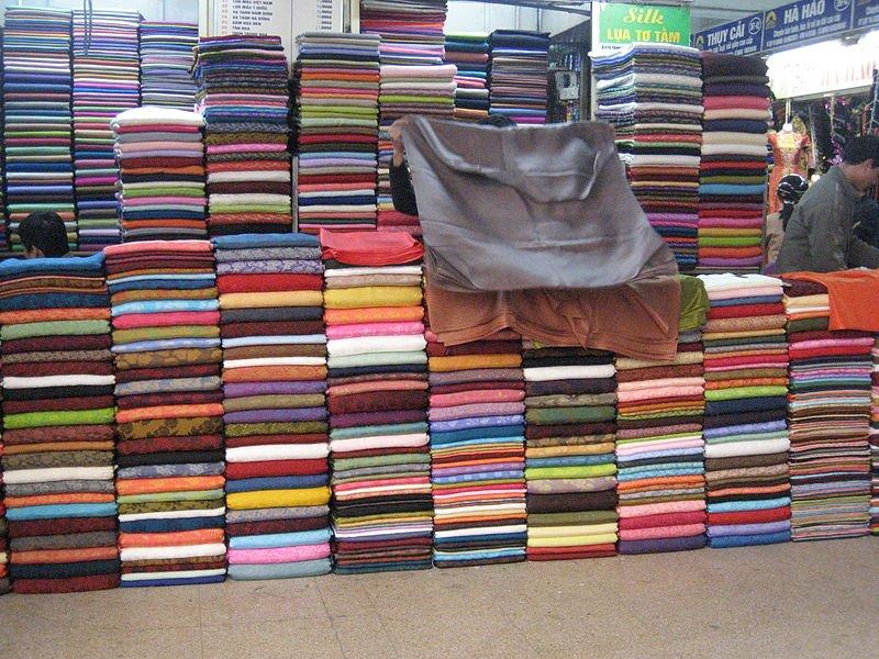 Silk fabrics sold at Đồng Xuân Market - photo by Arian Zwegers under CC-BY-2.0