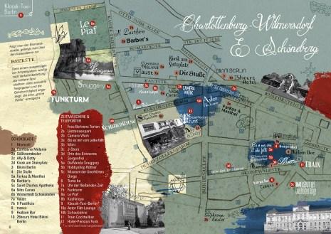 Stadtillustration: Illustrierte Bezirkskarte von Charlottenburg-Wilmersdorf und Schöneberg