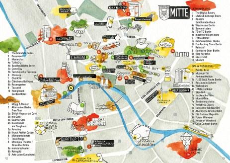 Stadtillustration: Illustrierte Bezirkskarte von Berlin-Mitte