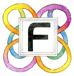 """Initiale """"F"""" mit gezeichnetem Regenbogendekor am Kapitelanfang einer Science-Fiction-Erzählung"""