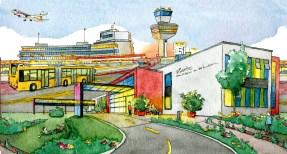 Illustration des Humbold Klinikums und des Flughafens Tegel