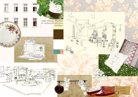 Skizze für Moodboard zur Neugestaltung des Innenhofs eines Cafés: Fotos, Farbpalette, Illustrationen, einstimmende Elemente