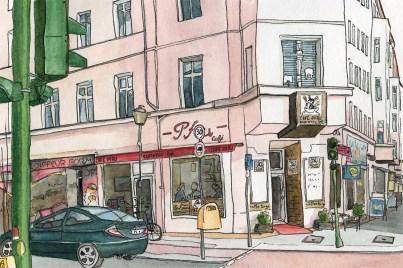 "illustrierte Postkarten ""Café Pfau"", Aquarell und Tusche"