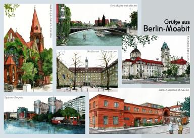 "Illustrierte Postkarten ""Grüße aus Berlin-Moabit"", Aquarell und Tusche"