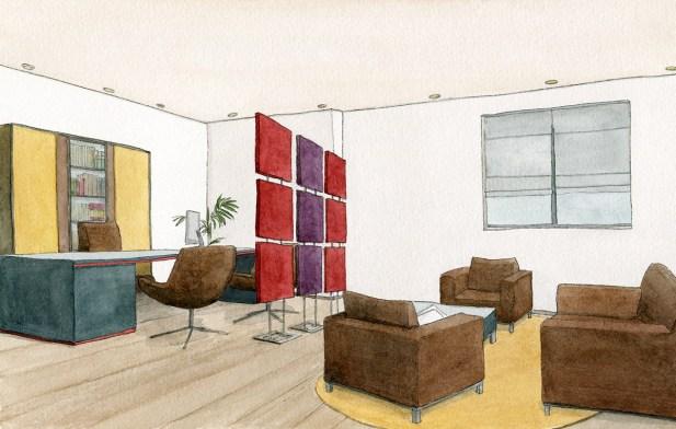 Illustrierte Visualisierung von akustischen Elementen als quadratische Raumtrenner in einem Büro, Sara Contini-Frank