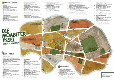 Stadtkarte vom Kiez Berlin-Moabit mit Straßen, Gewerbe, Gastronomie, Hotels