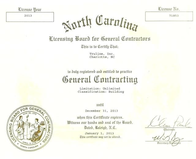 North Carolina Contractor License State Licensing For