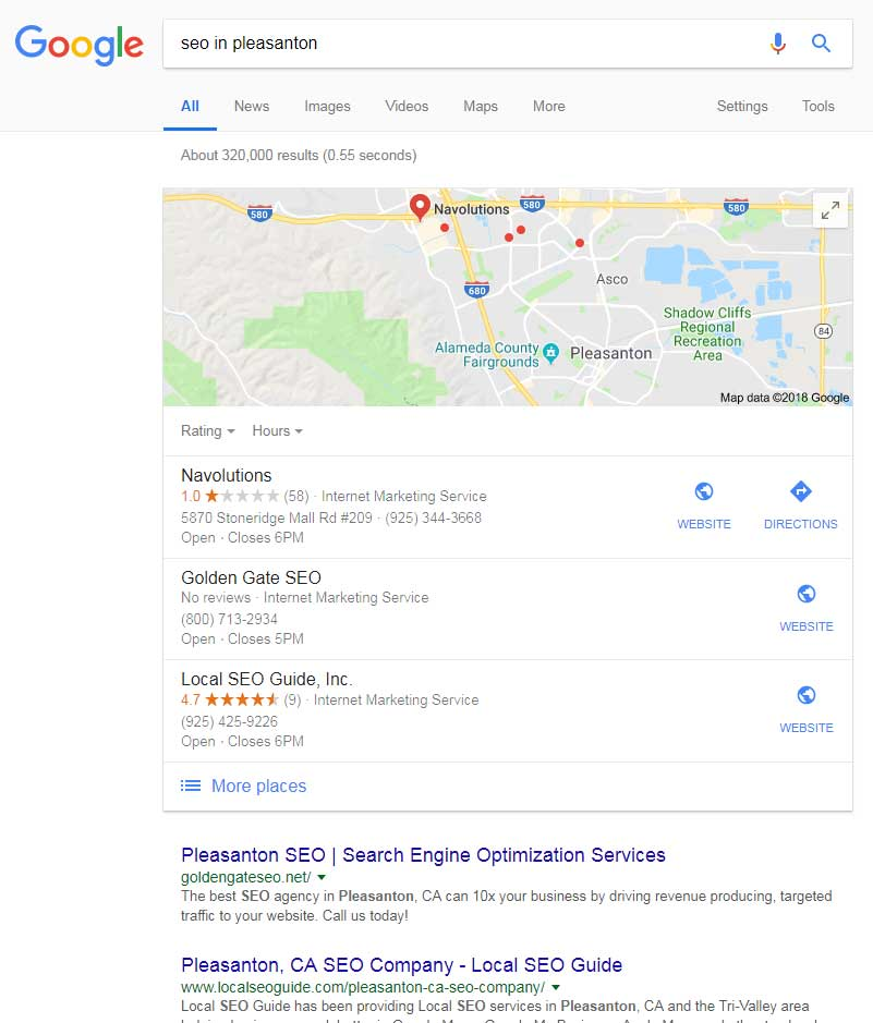 search results for SEO in Pleasanton