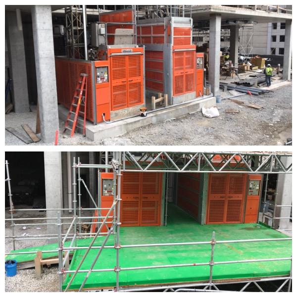 Completed buckhoist loading dock scaffold