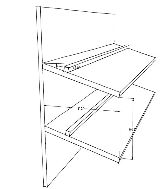 slanted shoe shelf plans