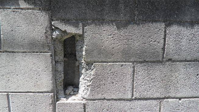 fixing cracked concrete block wall issys