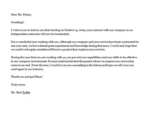 Contract Termination Letter Template