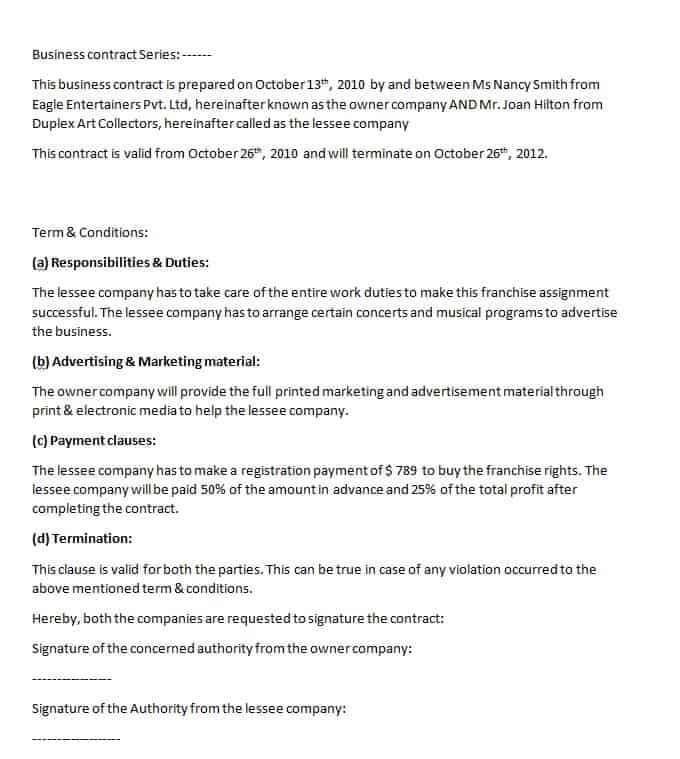 Business Contract Template Contract Agreements Formats Examples