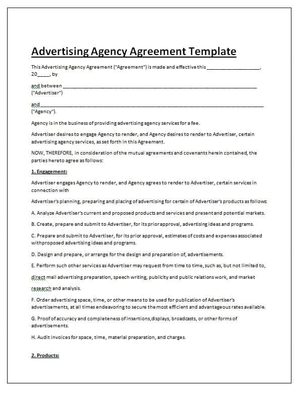 Advertising Contract Template  Contract Agreements Formats  Examples