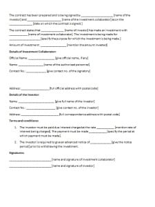 Investment Contract Sample Contract Templates