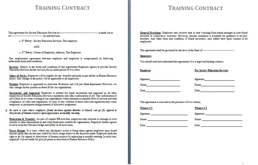 Training Contract Template  Contract Agreements Formats  Examples