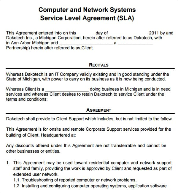 Computer Service Contract Contract Agreements Formats Examples