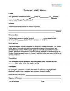 Waiver of Liability Contract template