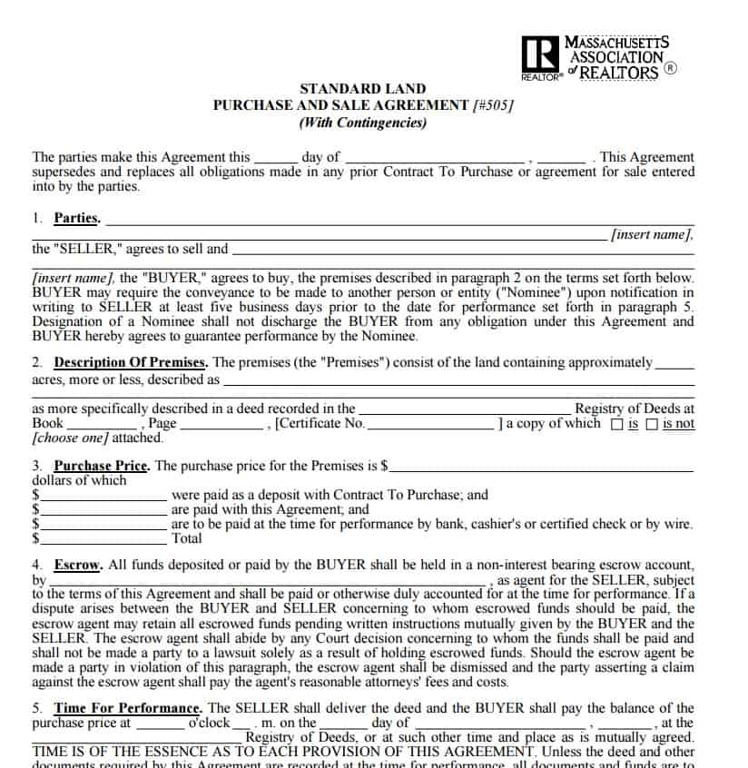 purchase and sale agreement massachusetts template  Land Sale Contract Template | Contract Agreements, Formats