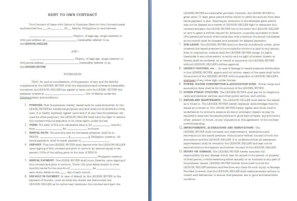 Download Free Rent To Own Contract Template: