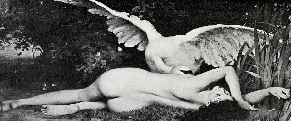 """""""Leda y el cisne"""", de Emmanuel Benner. (1836-1896. Francia)"""