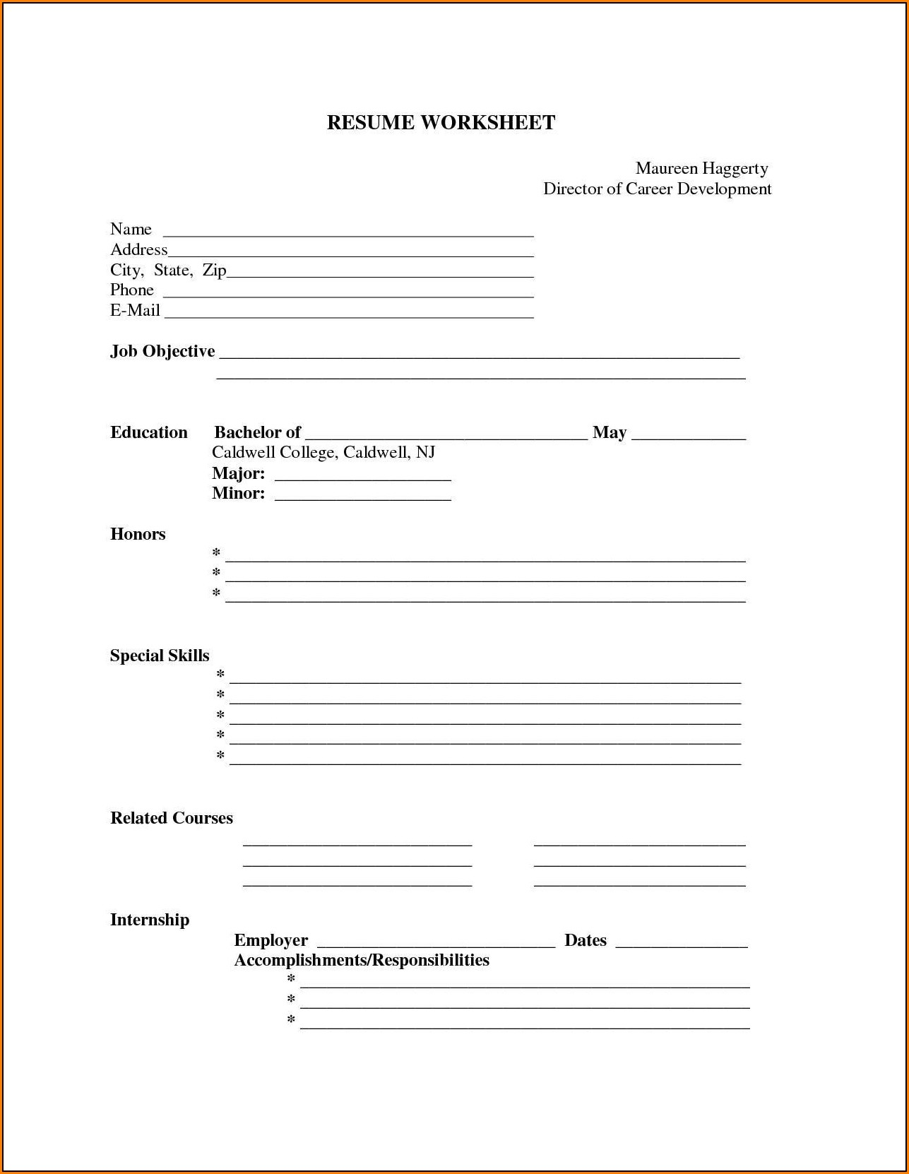 Free Printable Fill In The Blank Resume Templates