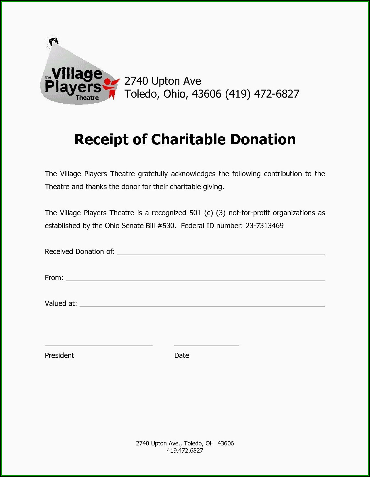Tax Deduction Form For Charitable Donations