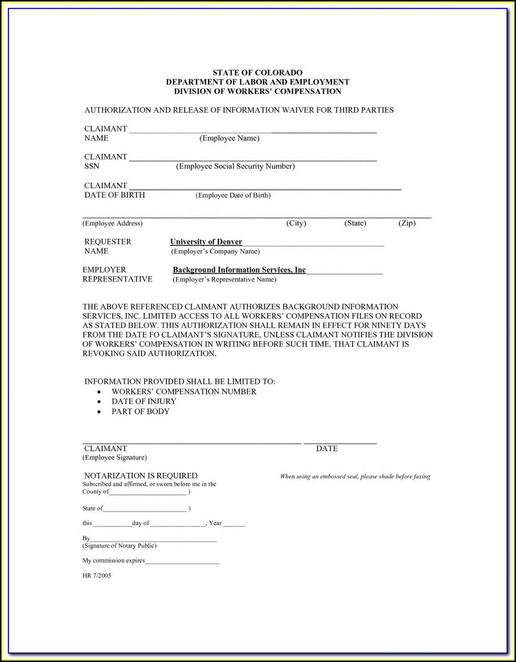 Waiver Of Subrogation Endorsement For Workers Comp