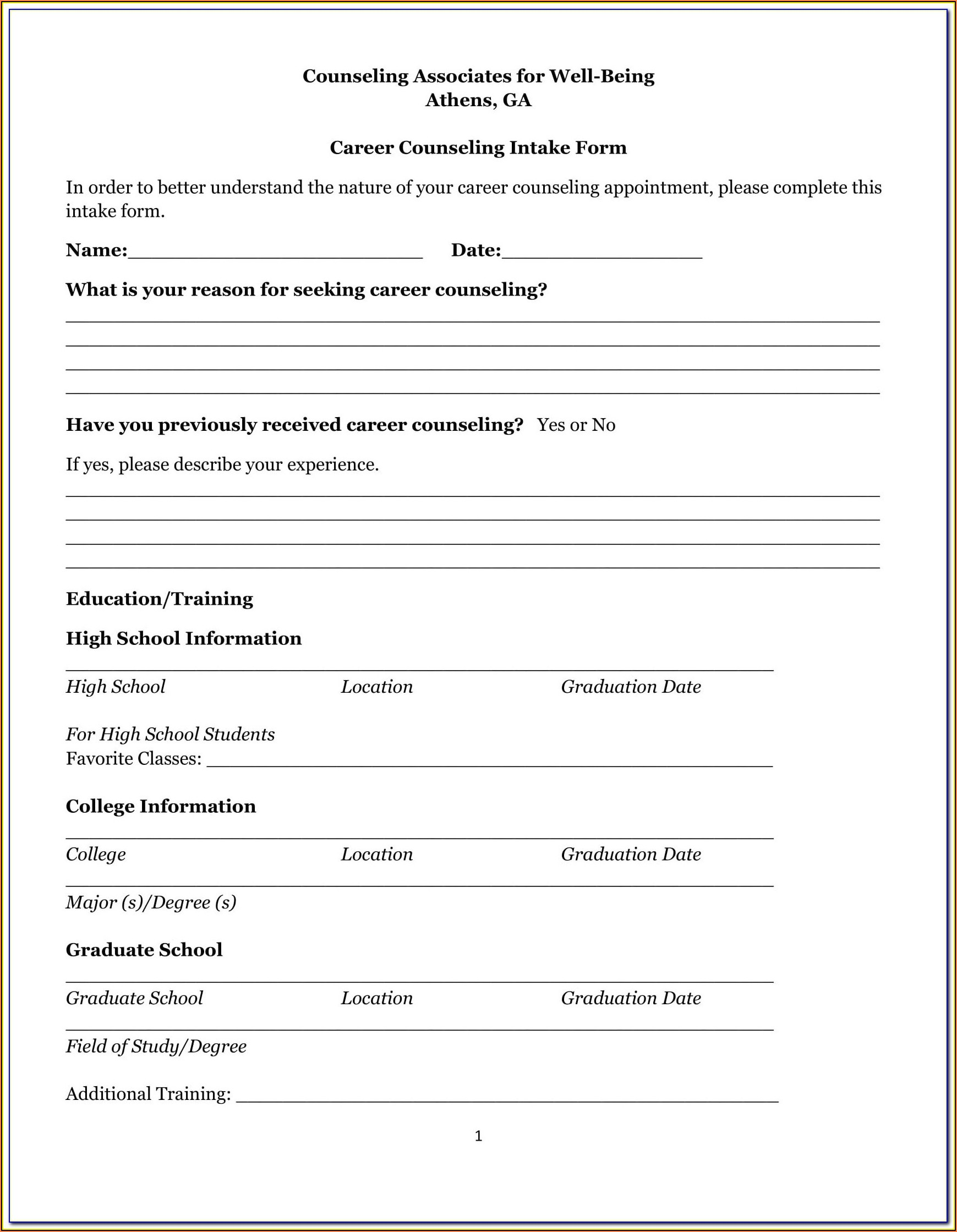 Pre Marriage Counseling Forms