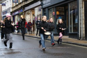 Pancake race - The Three Wishes, Cheap Street, Sherborne