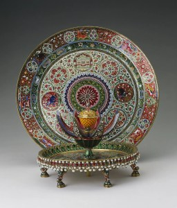 Enamelled gold plate and attardan (perfume holder)
