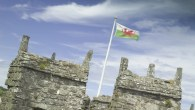 The Welsh flag flies proudly on top of Conwy Castle, Conwy, Gwynedd, Wales