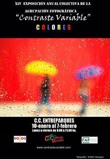 cartel exposición colores en en centro civico entreparques
