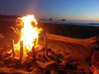 Camp fire on Shi Shi beach