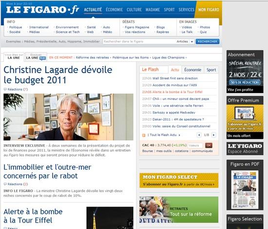 Une du Figaro, 14/09/10