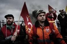 Manifestation syndicale à Florange en février 2012