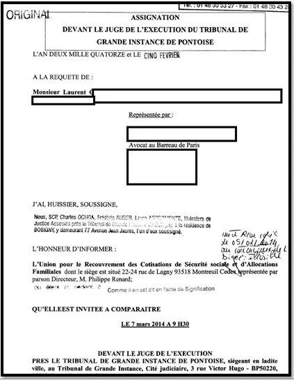 Assignation de l'URSSAF au tribunal