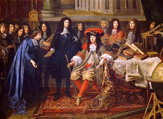 Colbert présente à Louis XIV les membres de l'Académie royale des sciences en 1667.