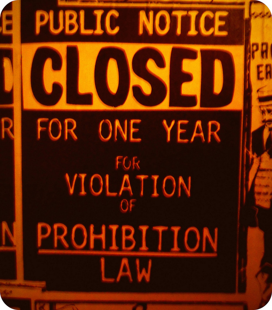 For violation of prohibition law Credits Colores Mari via Flickr (CC BY 2.0)