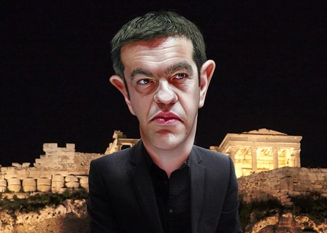 Alexis Tsipras - Crédit caricature : DonkeyHotey via Flickr (CC BY-SA 2.0